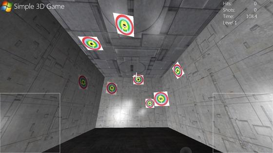 简单的 3D 游戏,在模拟的 3D 房间中显示有标靶